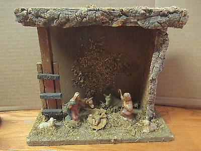 Vintage Christmas Nativity Figures in Wood Wooden Manger Stable Display