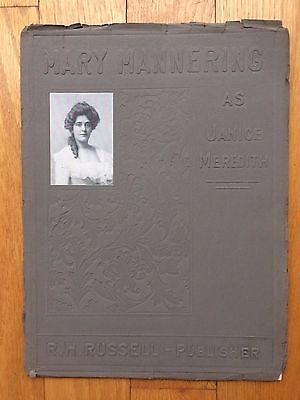 """MARY MANNERING AS JANICE MEREDITH. 1900. """"Authorized Souvenir."""" Theater Drama"""