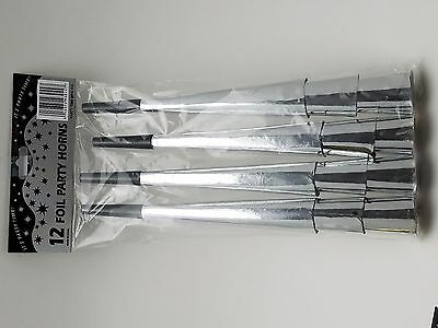 """36 Silver Foil New Years Eve Party Horns 9"""" long"""
