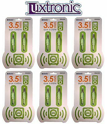 6 Pack Luxtronic Green Aux Cables, Universal Car Audio Cords Lot (4'ft - 3.5mm)