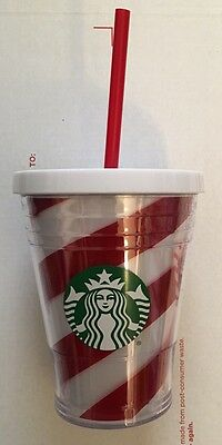 New 2016 Starbucks Christmas Silver Glitter Cold Cup Mug Tumbler Red White