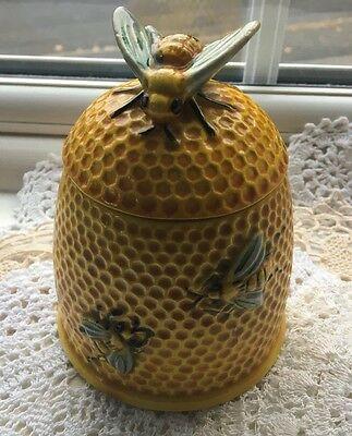 Vintage Japanese Honey Pot Large Bee Finial Hand Painted VGC