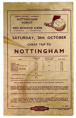 BR  Nottingham Forest v West Bromwich Albion 1961 handbill