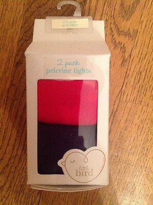 1 Pack Of Navy Blue And Red Little Bird By Jools Oliver Girls Tights  2-3 Years