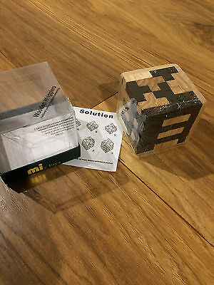 New 3D Wooden Cube Puzzle Wrigglers Tradional Teasing Ideal Secret Santa Gift
