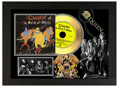 Queen   - A4 Signed Framed Gold Vinyl Collectors Cd Display Picture B