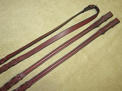 """GUC~Lovely & Good Quality English ROUND RAISED Laced Brown Leather Reins~104"""""""