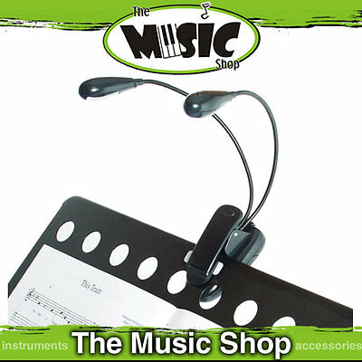 AMS Dual LED Music Stand Light with Gooseneck & Clip - Runs on Batteries - MSL2