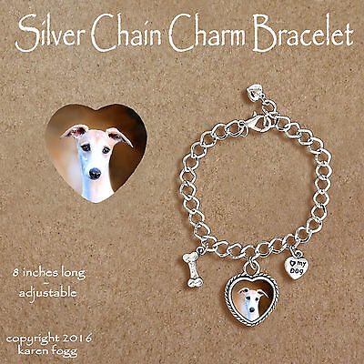WHIPPET DOG Fawn -   CHARM BRACELET SILVER CHAIN & HEART