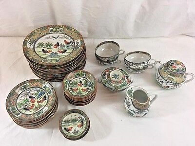 Chinese Porcelain Rooster Pattern Lot, Plates, Saucers, Tea Cups, Circa 1910