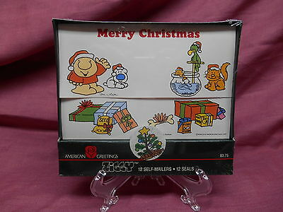 vtg ZIGGY Christmas Cards 12 Self Mailer Cards w Seals NEW in package 1987