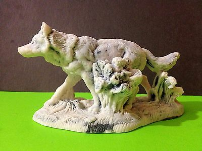 Polar wolf figurine marble chips sculpture wolf runs Souvenirs from Russia