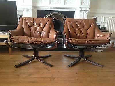 Pair vintage leather / rosewood Falcon chairs Sigurd Russell Danish