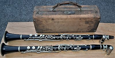 Estate Antique Henry Pourcelle France Wood Clarinet Boxed Set A & B-Bruno-Wow!