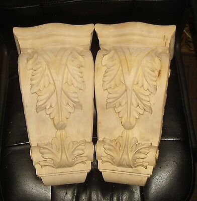 Vintage 2 Large Acanthus Wood Corbel Sculpture Beautiful  Pattern Nr