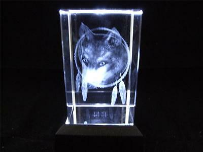 Solid Glass Crystal Laser Block and White Light Box Wolf.