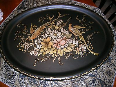 Antique Tole Painted Serving Tray Signed Flowers Birds Peacocks Gorgeous Large