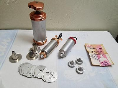 3 Vintage Cooky Cookie & Pastry Press 12 Disc 3 Tip  Good Condition Copper Lot