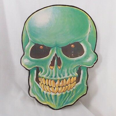 Vintage Halloween decoration Large double sided Green Skull fair condition