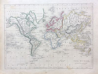 Map of THE WORLD on Mercators Projection c1850, by W. Hughes, Virtue, London