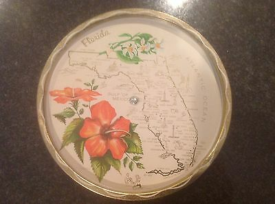 Vintage Florida Metal Tray with Lazy Susan Attachment
