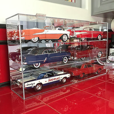 Acrylic Diecast Display Case for Six (6) 1:18 Scale Collectibles w Mirrored Back