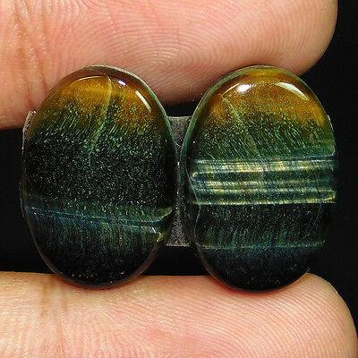 24.2Cts 100% NATURAL RARE IRON TIGER PAIR OVAL 20X15 CAB GEMSTONE QEM1099