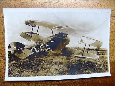 1914-1918 WWI Downed British Bi-Plane - Vintage Black and White Photo