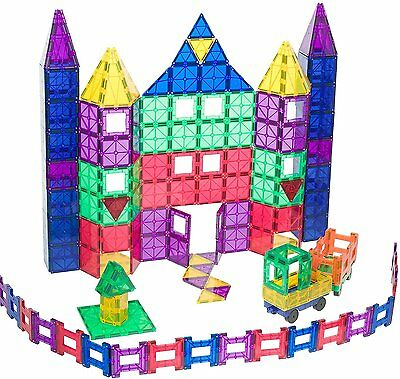 Playmags Clear Colors Magnetic Tiles Deluxe Building Set 150 Piece Set W/ 2 Cars