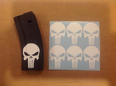 Punisher Skull Sticker 6 pack, M4, AR, AK Magazine Sticker!  WHITE!