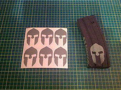 AR  Magazine SPARTAN HELMET sticker 6 Pack, Vinyl sticker  AR 15, AK 47, GREY!
