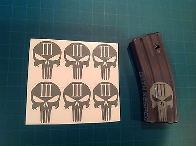 AR Magazine Sticker 6 Pack, THREE PERCENTER PUNISHER SKULL, 3%, AR, GREY!