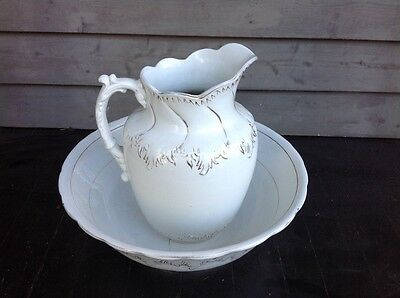 Large Antique Wash Bowl and Pitcher