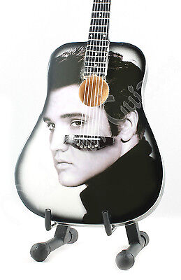 Miniature Guitar ELVIS PRESLEY with stand. black/white