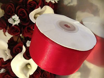RED SATIN RIBBON 50mm x 5 metres wedding decorating  FLAT PACKED Freepost