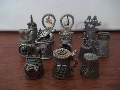Thimble Pewter Lot Of 12 Various Locations
