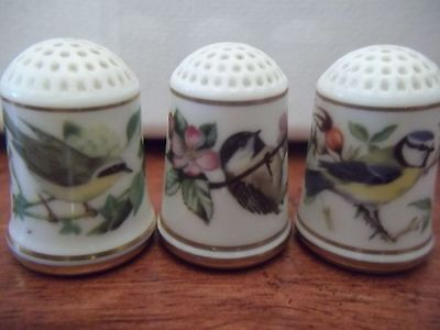 Thimble  Are 3 Franklin Porcelain bird thimbles.Limited Edition 1979