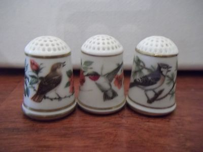 Thimble  Are 3 Franklin Porcelain bird thimbles. Limited Edition 1979