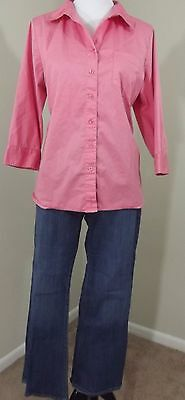 MATERNITY Outfit ~ OLD NAVY Jeans 12 & LIZ LANGE Pink Button Down Blouse L/XL