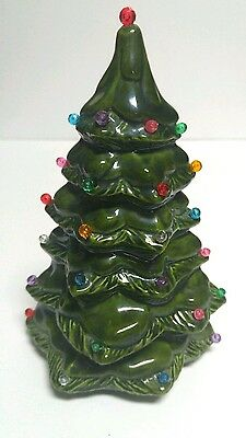 Christmas Tree Evergreen Pine With Light Color Pegs Holiday Vintage Ceramic 1988