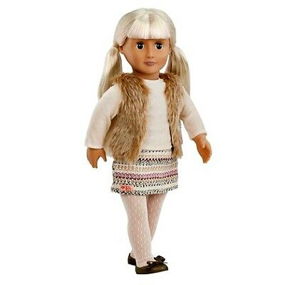 """Our Generation Doll ARIA  Toys Pretend Play Blonde Fur Vest Skirt 18"""" NEW"""