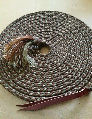 Braided Paracord Horse Mecate Rein 22FT Brown/Coyote/Camo
