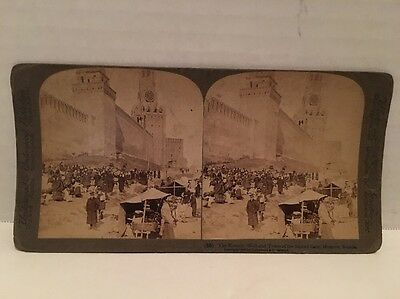"""1898 Stereoview Card """"The Kremlin Wall And Tower Of Sacred Gate"""" Moscow Russia"""