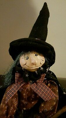 "28"" Friendly Sitting Witch Doll~Halloween Decoration Broom~Hat~Bat Cape"