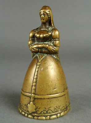 Old Brass Dinner Tea LADY BELL Victorian or Medieval Girl Clapper Legs 6