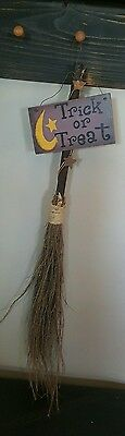 WITCHES STRAW BROOM Rustic Halloween Trick or Treat Sign Home Decor NEW