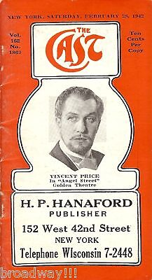 """Vincent Price """"ANGEL STREET"""" Philip Ober 1942 """"CAST"""" Broadway Theatre Guide"""
