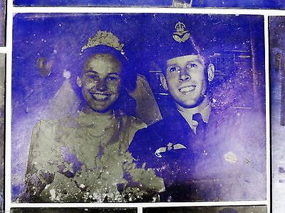 Lot of 9 WWII Metal Printing Plates, WW2 Photo Negatives of Soldiers & Marriages