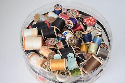 Wood Spools Vintage Sewing Thread Wooden Silk Button Coat Belding Corticelli