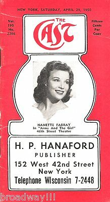 """Nanette Fabray """"ARMS AND THE GIRL"""" Pearl Bailey 1950 """"CAST"""" Theatre Guide"""